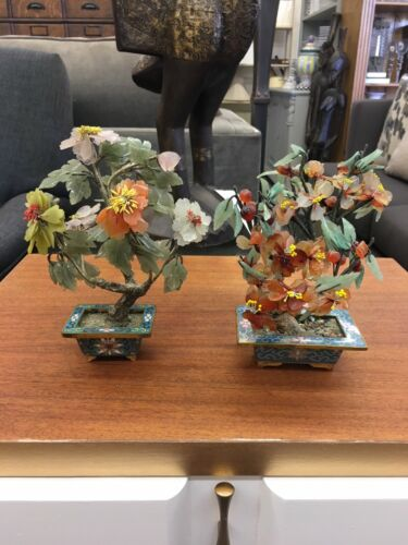 """Gorgeous Pair Of Antique Chinese 8"""" Jade & Stone Trees In Cloisonne Planters"""
