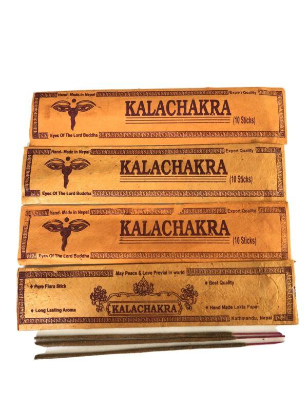 4 Tibetan Hand Rolled KALA CHAKRA INCENSE STICK Natural Yoga Scent NEPAL 10p Pck