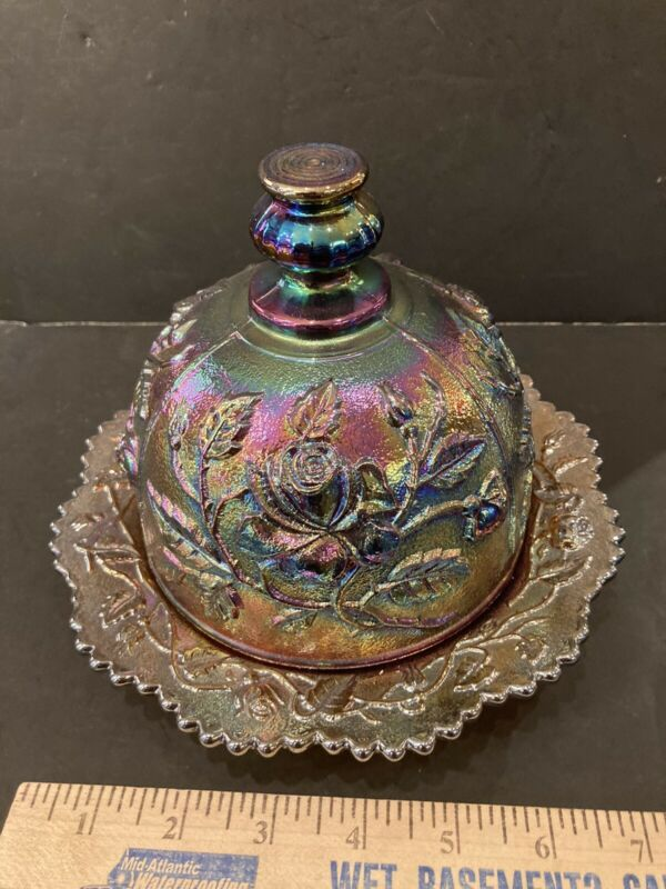 IMPERIAL AMETHYST LUSTRE ROSE CARNIVAL GLASS COVERED BUTTER - STUNNING!