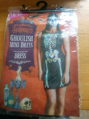 Ghoulish mini dress skeleton Ladies Fancy Dress Halloween Costume size -