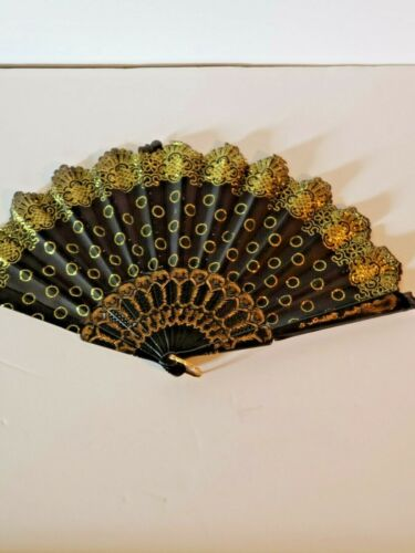 Chinese style Hand Held Folding Fan party wedding New Black n gold $5.99