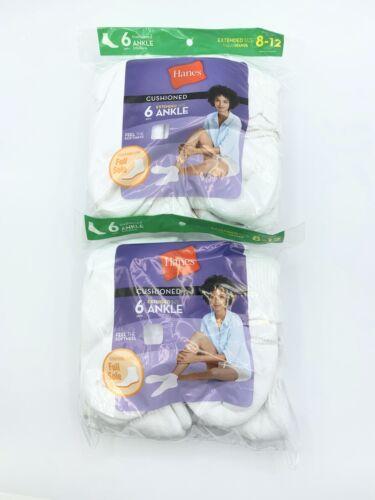 Hanes Women's ComfortBlend Ankle Socks 6-Pack  White 10-12