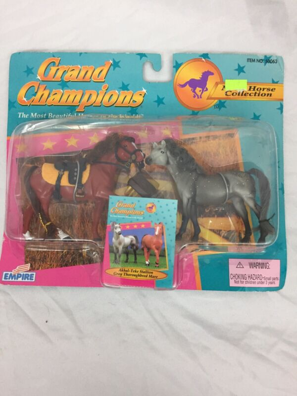 Grand Champions Mini Horse Collection Akhal-Teke Stallion & Thoroughbred Toy Set
