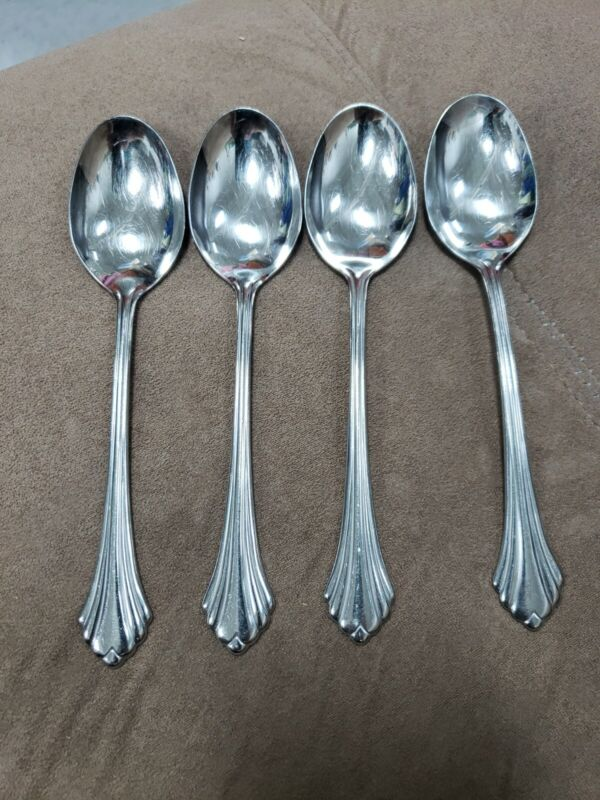 """4 ONEIDA USA BANCROFT/FORTUNE GLOSSY STAINLESS STEEL TABLESPOONS  7"""""""