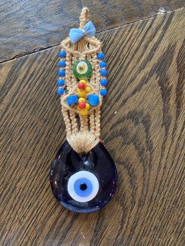 "Vintage Hand Made Macrame evil eye wall hanging, Greek, Middle Eastern Culture9"""