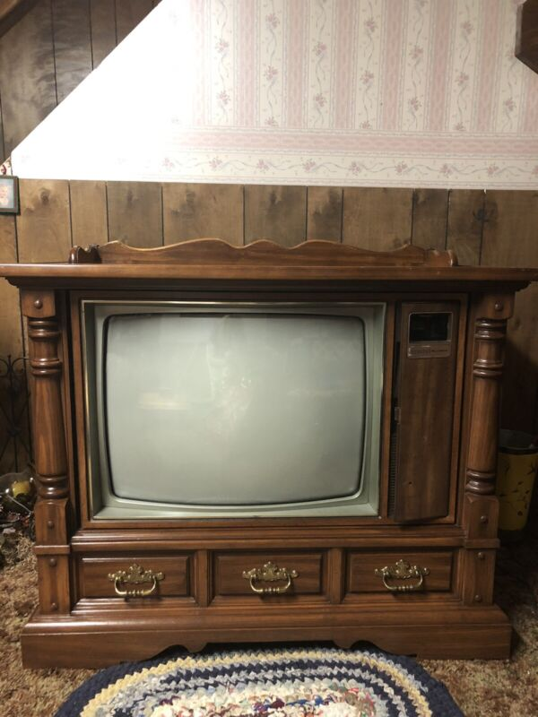 Vintage Console Zenith Space Command Color TV SZ2515PN. 1983.  With Remote.