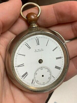 ANTIQUE 18S WALTHAM BROADWAY KEY WIND POCKET WATCH Parts or Repair!! NR