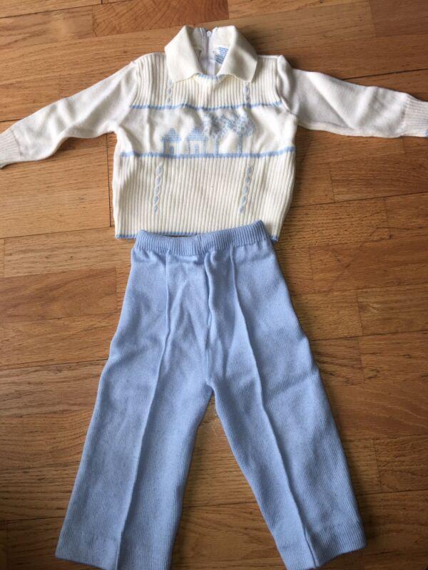 Vtg 70s 80s Nann -18M Boys Sweater Set Outfit 2pc Blue Off-white LS Acrylic