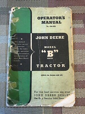 Vintage Original John Deere Model B Tractor Operators Manual Om-rb2