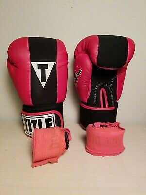 Red Womens Size Medium Title Boxing Gloves And Hand Wraps