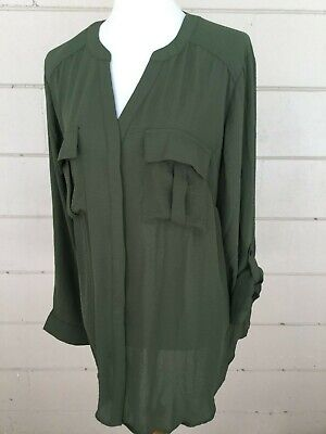 a.n.a. Womens Blouse NWT Olive Button Up Top Work Shirt Roll Tab Plus Size 4X