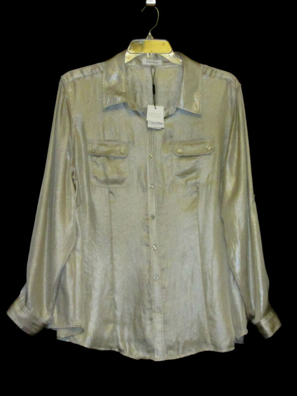 NWT Calvin Klein 3X Safari Top Wheat Gold Shimmer Non Metallic Utility Shirt NEW