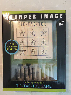 SHARPER IMAGE TABLETOP WOODEN TIC TAC TOE GAME -NEW