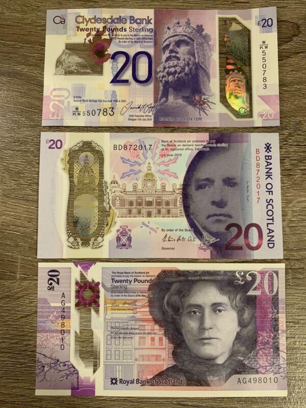 20 X 3 Unc Scotland POUND Banknotes. 60 Pounds Total. Scottish Note. 3 Bills