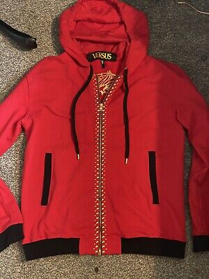 Versace Versus Red Gold Lion Jacket Studs Medium Hoody Hoodie