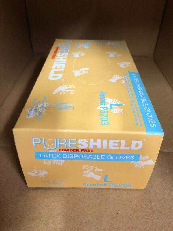 Pureshield Latex Gloves, Powder-Free, LARGE Natural 100/Box