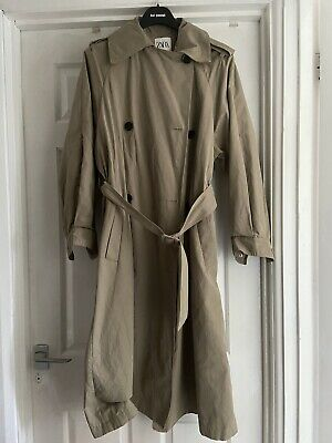 Zara Oversized Trench Coat Beige/Green Size -