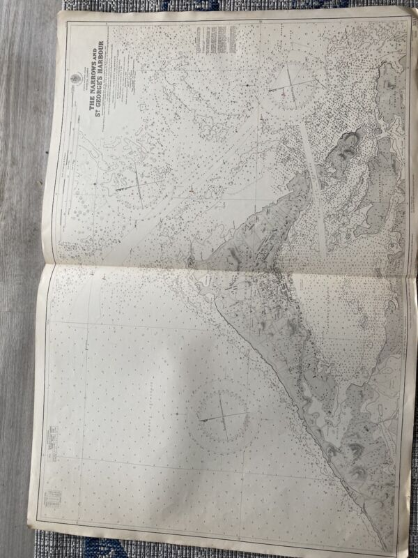 Orig Nautical Chart Map Bermuda The Narrows & At George Harbor 1315 Issued 1940