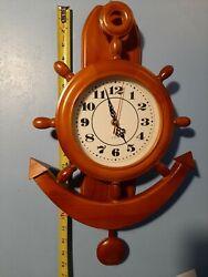 Wall Mount Anchor Clock Nautical Ship Wheel Theme Quartz New SHIPPED FROM USA