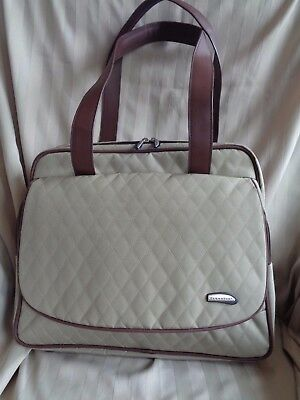 Travelon~Lge Expandable 3 Compartment~Khaki/Brn Quilted Weekend/Business Bag~New