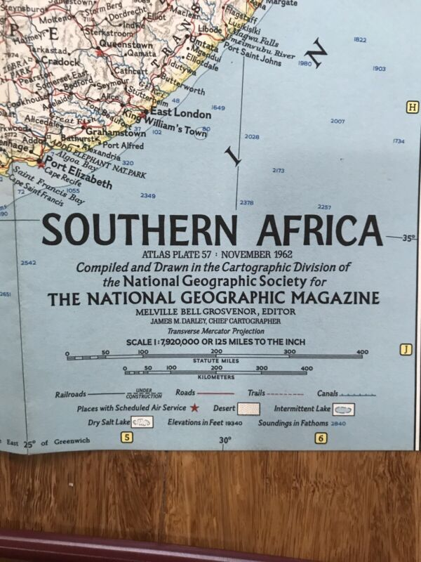 1962 (Nov) Southern Africa; National Geographic; Excellent Condition