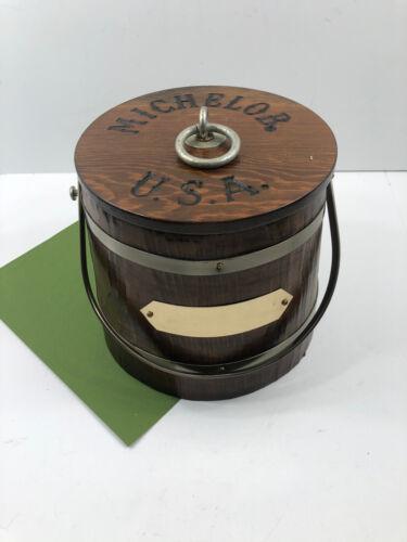 Vintage MICHELOB Ice Bucket Wood Barrel Anheuser Busch Beer USA Bar