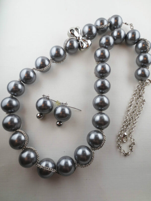 Vintage Style Silver Faux Pearl Bow Necklace Earrings