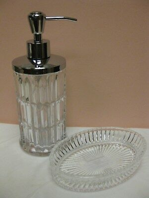 - NEW HOTEL COLLECTION CRYSTAL CUT Pump Dispenser SOAP DISH GLASS Bath Accessory