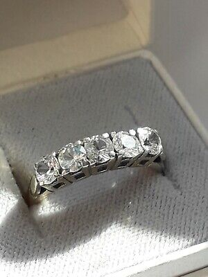 Antique/Vintage Gold on Sterling Silver Half Eternity Band Ring. Size L 1/2