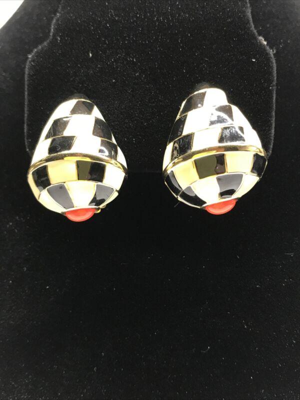 Vintage Signed KJL Kenneth Lane 2pr Enamel Conch Shell Clip On Earrings