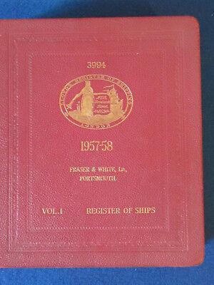 Lloyd's Register of Ships 1957/58 - Vol 1 - Vintage Hardback Book - Shipping