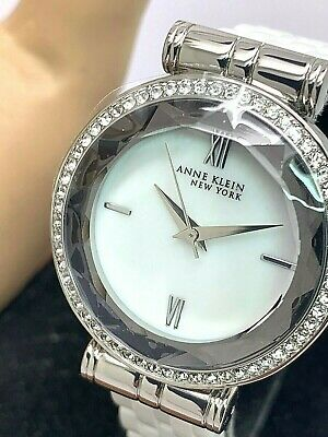 Anne Klein Women's Watch 12/2317 Silver Tone Case Crystals White Ceramic Set