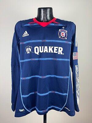 Men's Adidas Formation Chicago Fire Long Sleeve Navy Blue MLS Soccer Jersey XL Fire Long Sleeve Jersey