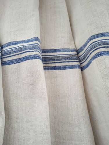 Antique vintage GRAIN SACK feedsack  feedbag  BLUE stripes hemp linen GRAINSACK