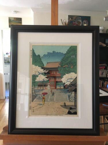 Vintage signed Japanese Woodblock Print - Spring in Kurama Temple - Asano Takeji