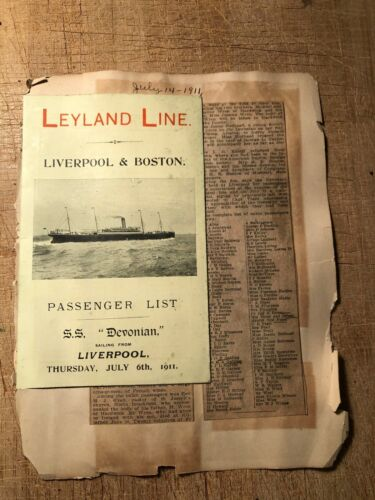 Leyland Line Saloon Passenger List SS Devonian 1911 Liverpool to Boston
