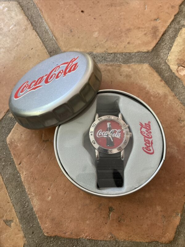 NEW SEALED 2002 Coca Cola Watch Coke Bottle Red Face with Box Black Strap