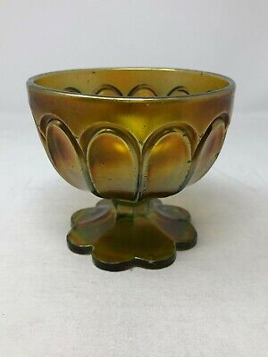 Northwood Green Carnival Glass Colonial Double Loop Open Sugar Bowl