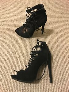 MOVING SALE: Black Lace Up Stiletto Heels Size 8