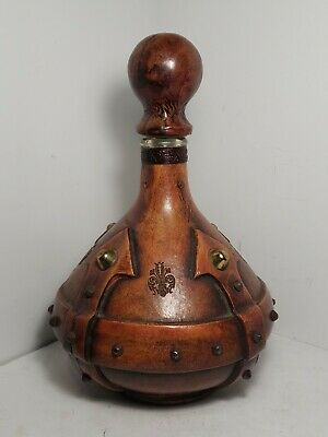 Vintage Rare Mid Century Italian Leather Wrapped Decanter Hand Tooled 12