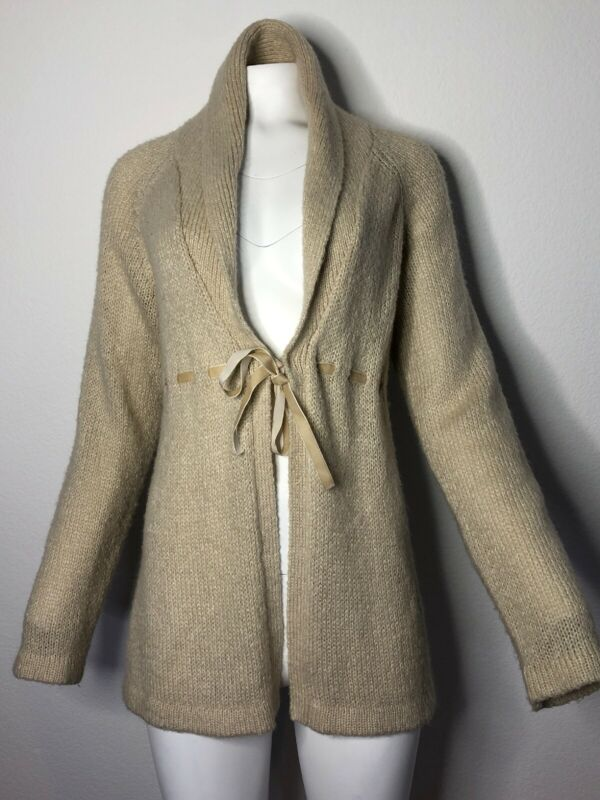 Motherhood Maternity Brown Tan Oatmeal  Cozy Tie Cardigan Sweater, Size XL  2049