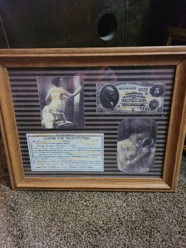 Framed PRINT Of Prostitution License, 12x15 Peaches Parke 1896 Sign Virgil Earp