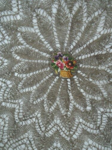 ANTIQUE OLD GOLD METAL THREADS TABLECLOTH W TAPESTRY GOBELIN MUSEUM VALUE
