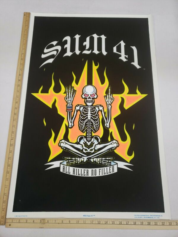 Vintage Original 2001 Sum 41 All Hiller No Filler Black Light Poster Funky