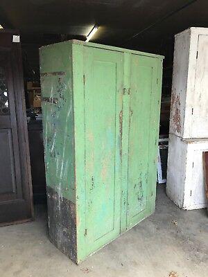 2 Door Painted Cupboard - Early Americanantique 2 Door green painted cupboard 48.5 x 73 x 18 D