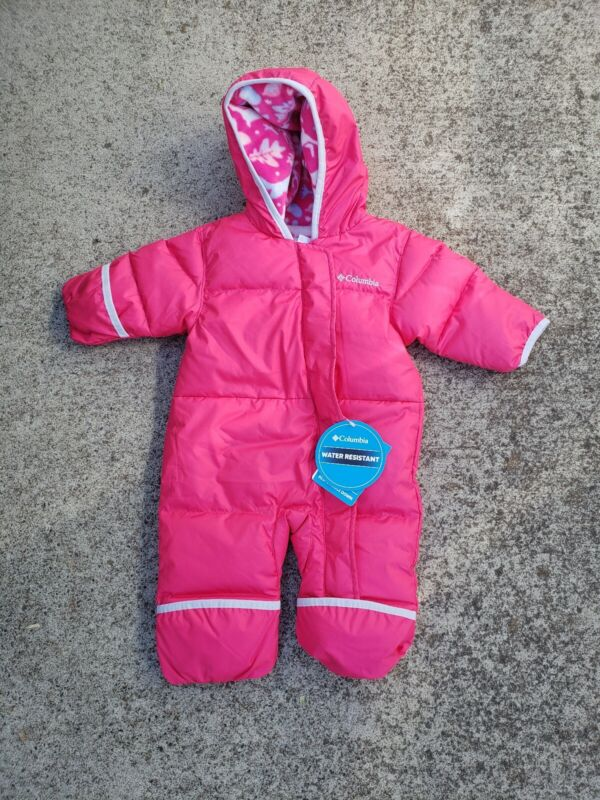 COLUMBIA Snuggly Bunny Bunting hooded, pink, fleece lined, down body suit, 3-6mo