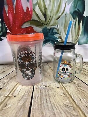 Sugar Skull Mason Jar 16 oz Straw 32 oz Plastic Containers Halloween Los - Painted Halloween Mason Jars