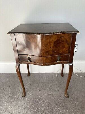 Walnut Reproduction Sewing Work Box With Single Drawer  on Queen Anne Style Legs