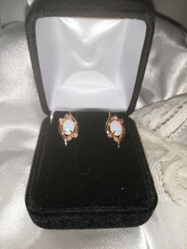 14 K Gold Antique Victorian Style Opal And Diamond Earrings.