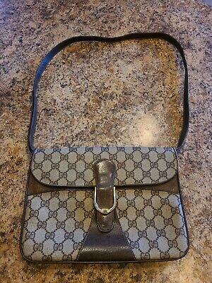 Vintage Gucci GG Shoulder Bag Brown Leather Accessory Collection